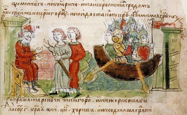 Миниатюра из Радзивиловской летописи. Знамя первых князей Полоцкой Руси Аскольда и Дира монолитно красное