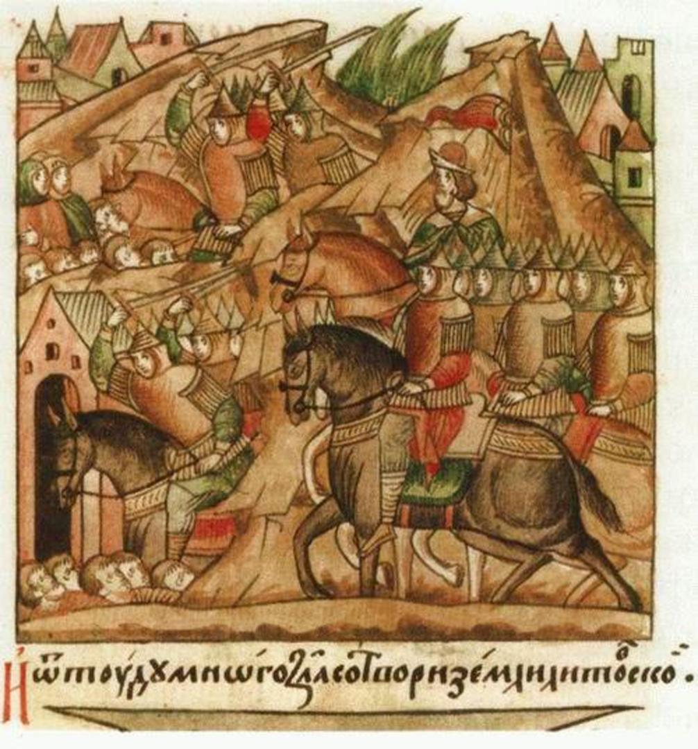 Поход Витовта на Литву. Миниатюра XVIв, на которой изображен монолитно красный флаг ВКЛРЖ. Внизу надпись гласит – «Витоуд много зла сотвори земли Литовское»