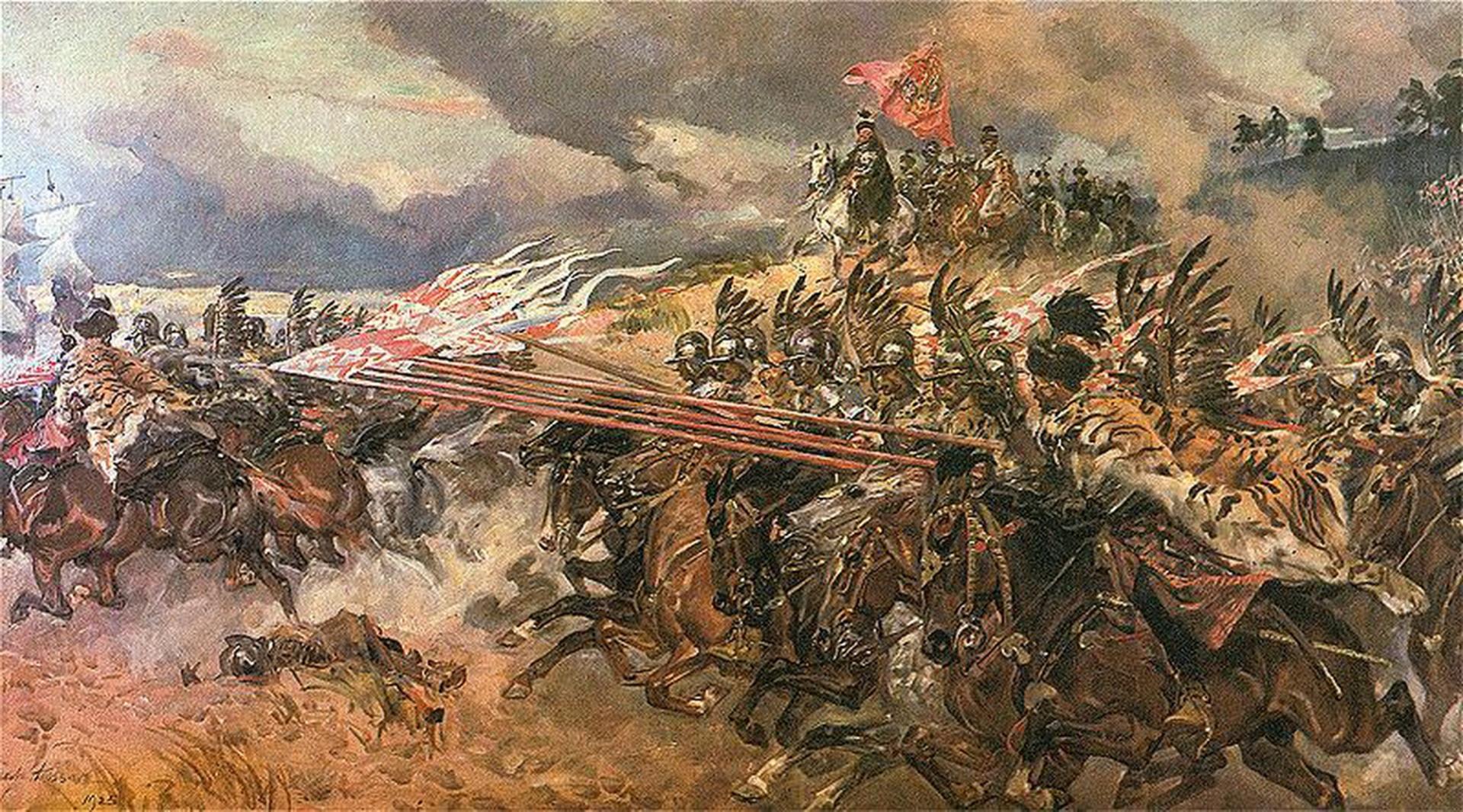 На картине изображен Ян Кароль Ходкевич с монолитно красным флагом Речи Посполитой. Картина посвящена битве под Кирхгольмом в 1605 году