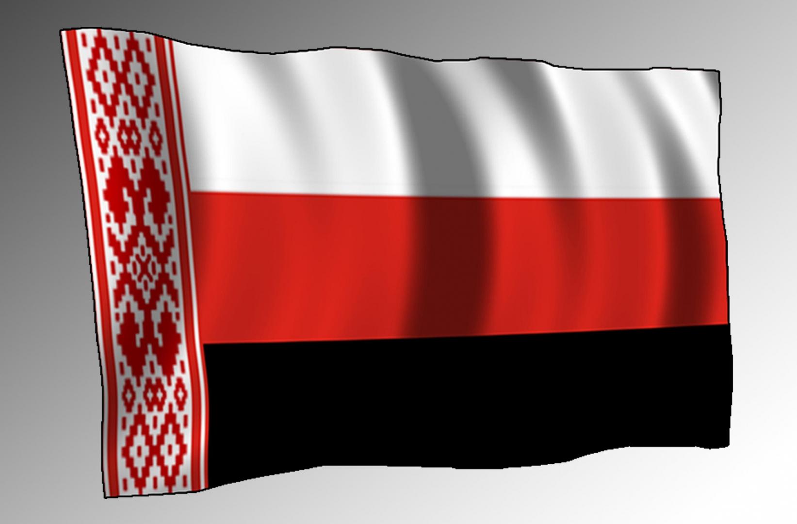 Бело-красно-черный флаг с народным орнаментом у древка. Флаг патриотических сил нового времени