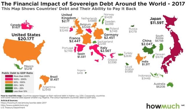 Карта внешнего долга стран