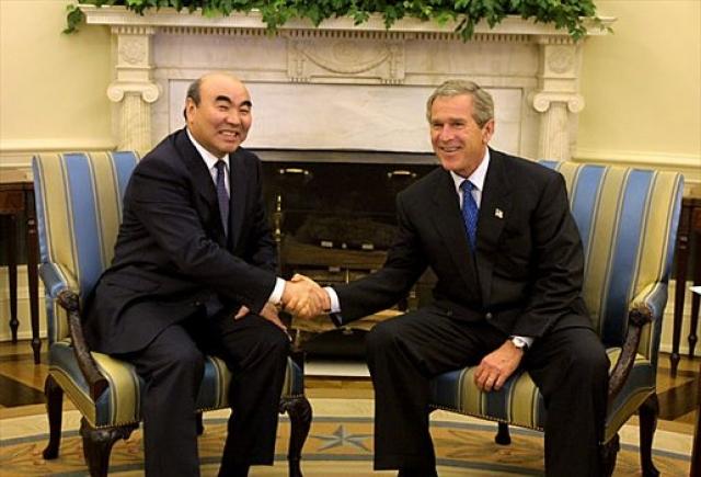 Аскар Акаев и Джордж Буш