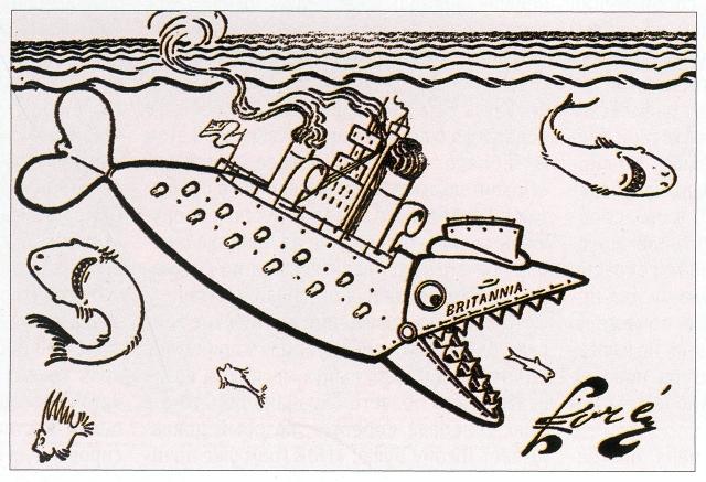 Если бы Трансвааль был рыбой… Русская карикатура из газеты «Новое время», 1899