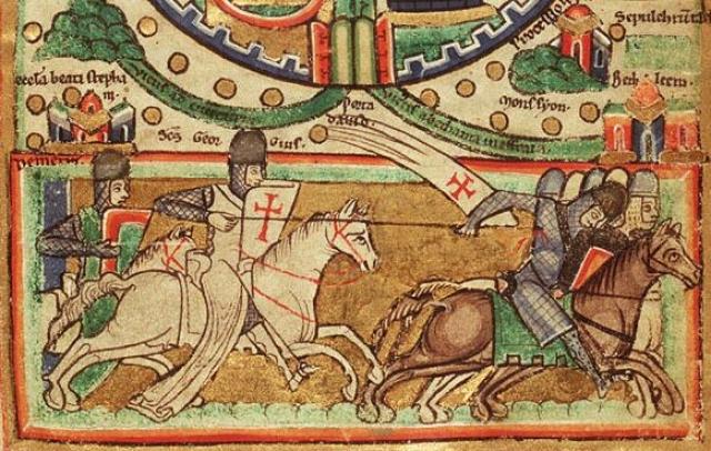 Тамплиер-победитель. Рисунок на карте Иерусалима (рисунок около 1170 года)