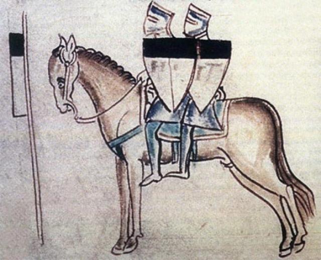 Два бедных рыцаря делят одну лошадь (эмблема тамплиеров).Рисунок из хроники Матвея Парижского. XIII в. Оксфорд