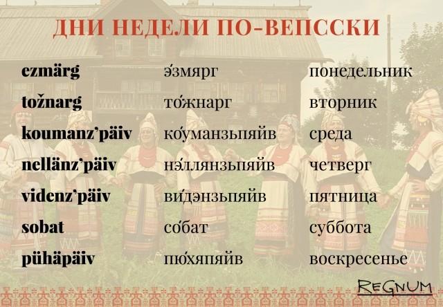 Выдержка из словаря вепсского языка