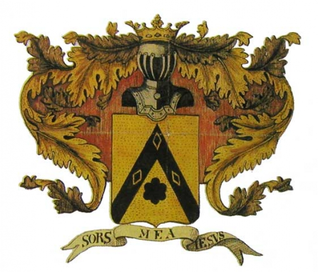 Герб рода Лермонтовых с девизом «SORS MEA IESUS» (Судьба моя Иисус)