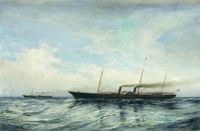 Алексей Боголюбов. Яхты Держава и Забава (при открытии Морского канала). 1885