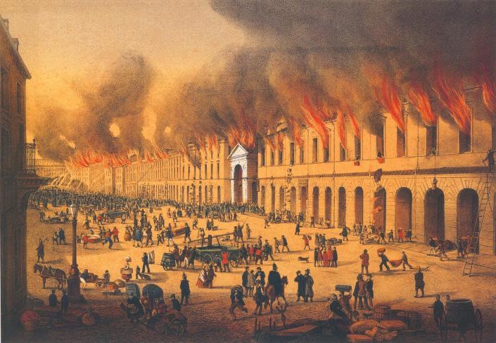 Пожар в Апраксином дворе 1862 года, вид с Садовой улицы. Неизвестный художник