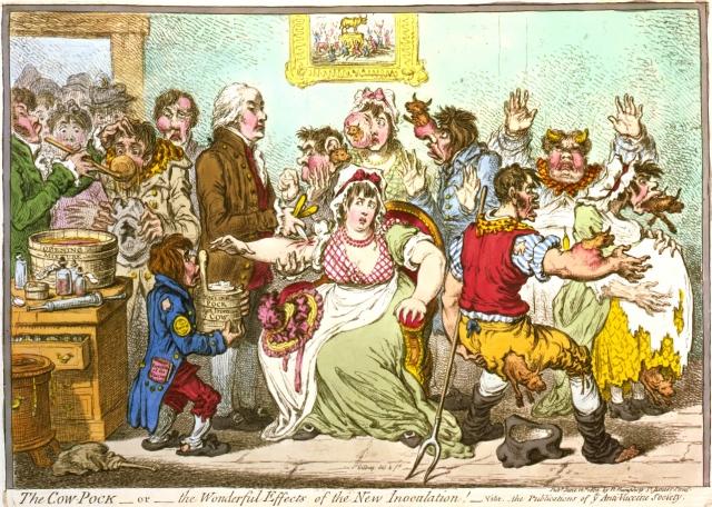 Карикатура, созданная в 1802 году, когда Эдвард Дженнер предложил делать вакцинацию животным, заболевшим оспой, чтобы защитить людей