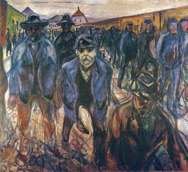 Эдвард Мунк. Рабочие на пути домой. 1914