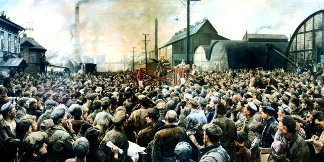 Исаак Бродский. Выступление Ленина на митинге рабочих Путиловского завода в мае 1917 года. 1929