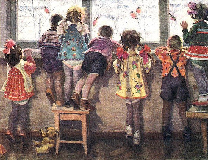 Николай Ульянов. Снегири. Детский сад. 1964