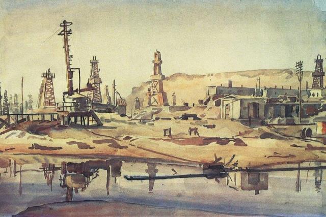 Константин Богаевский. Бакинские нефтяные промыслы. 1930-е