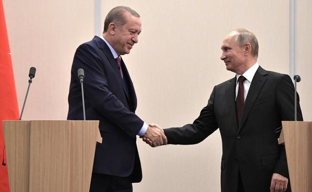 Заявления для прессы по итогам российско-турецких переговоров. Реджеп Тайип Эрдоган и Владимир Путин. Сочи, 13 ноября 2017 года