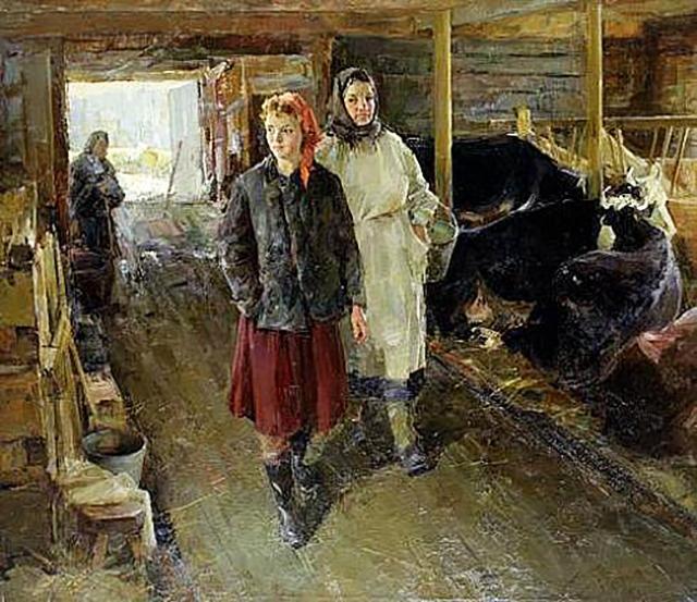 Павел Рыбин. На молочной ферме. 1959