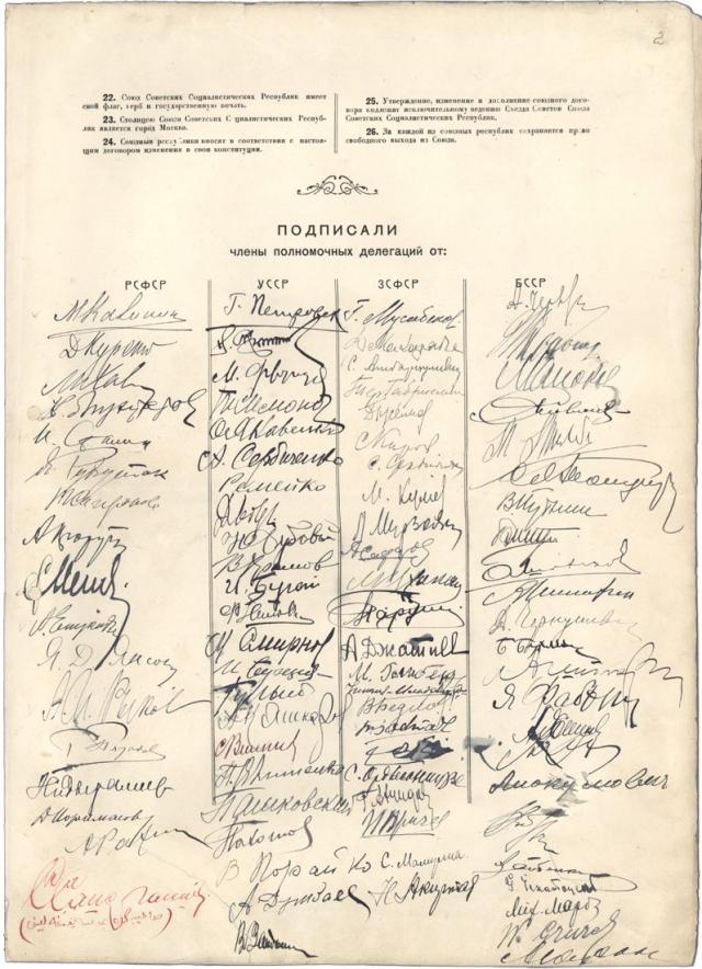 Последняя страница Договора об образовании СССР