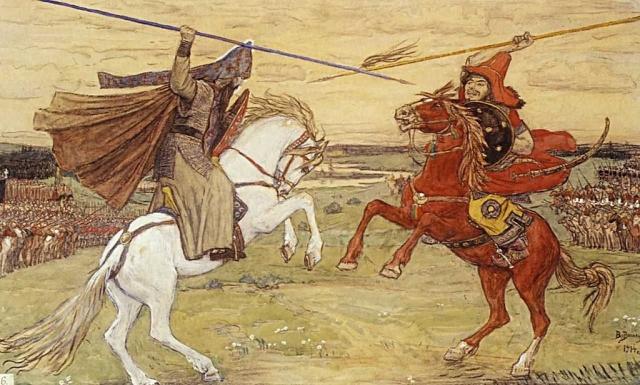Виктор Васнецов. Поединок Пересвета с Челубеем. 1914