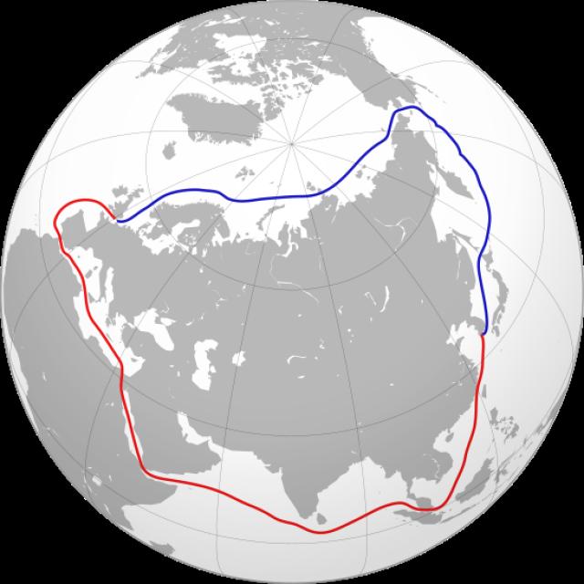 Северный морской путь (обозначен синим)