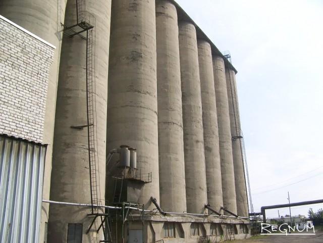 Зерновые бункеры Ребрихинского элеватора в Алтайском крае