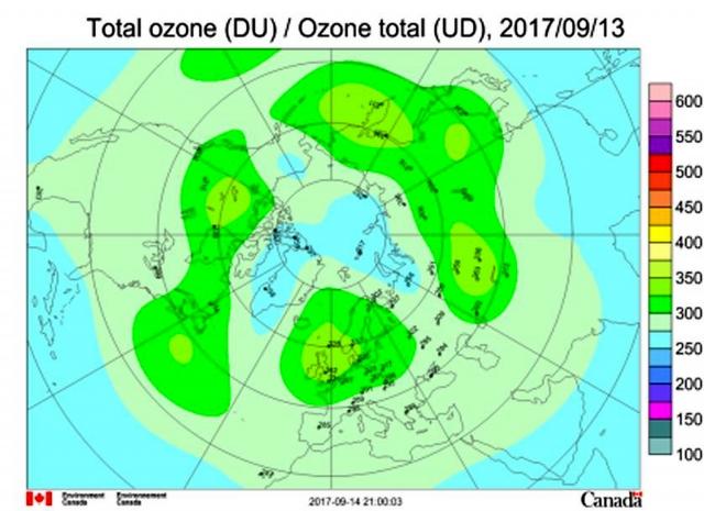 Рис. 4. Общее содержание озона (ОСО) в Северном полушарии 13.09.2017