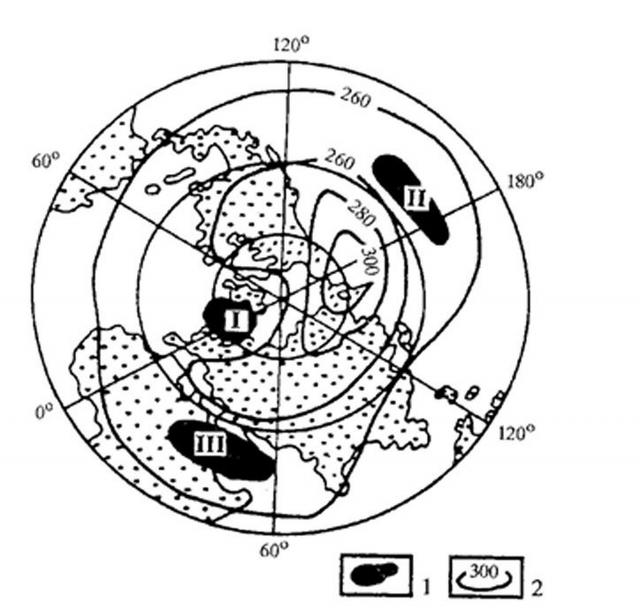 Рис. 6. Области минимального содержания озона в атмосфере Северного полушария Земли в октябре (усредненные данные мировой сети озонометрических станций по В. И. Бекорюкову и др. )