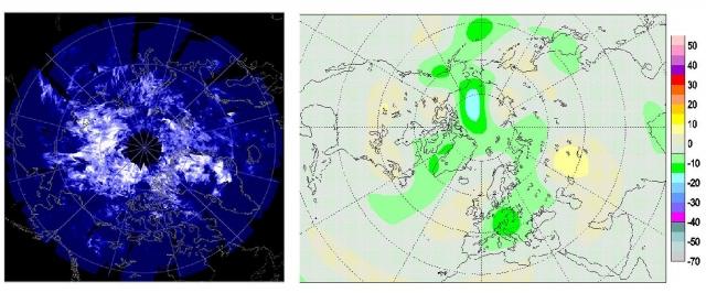 Рис. 12. Синхронность появления серебристых облаков (слева) и аномалий ОСО под ними (справа) над Арктикой 14.07.2009