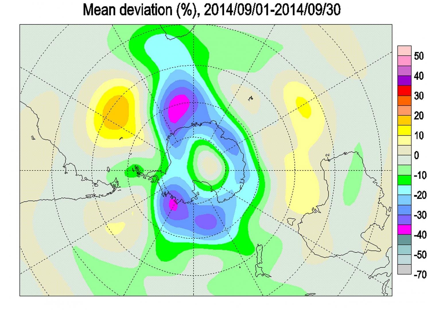 Рис. 23. Многоцентровая антарктическая аномалия ОСО (сентябрь 2014 г.). В самом центре Антарктиды аномалия положительная!