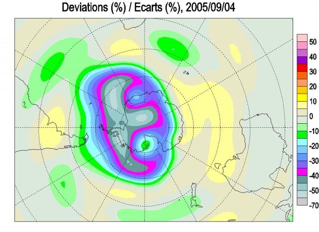 Рис. 26. Аномалия ОСО в Антарктике 04.09.2005