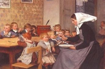 Альберт Анкер. Детский сад (фрагмент). 1874