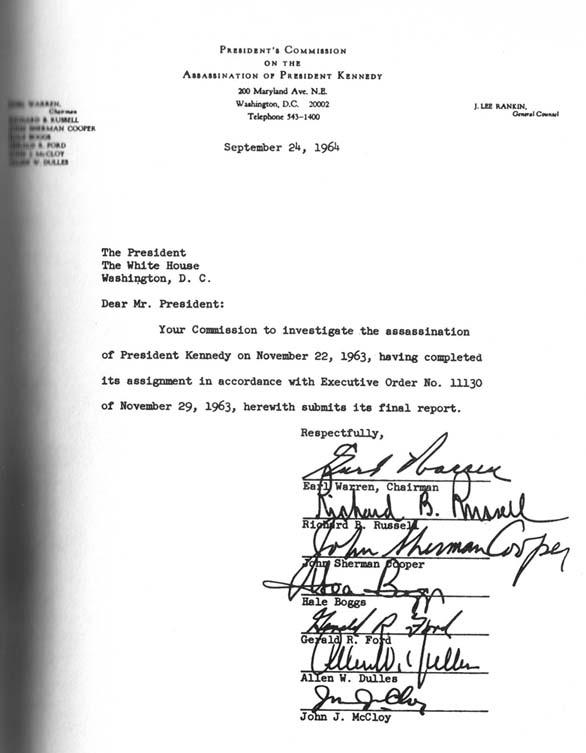 Первый лист доклада комиссии Уоррена