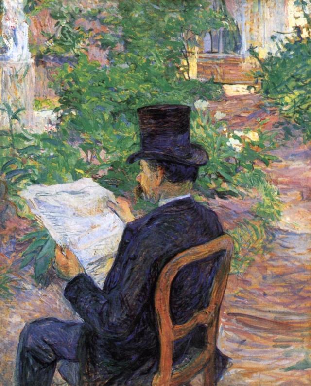 Анри Тулуз-Лотрек. Dehau читает газету в саду. 1890