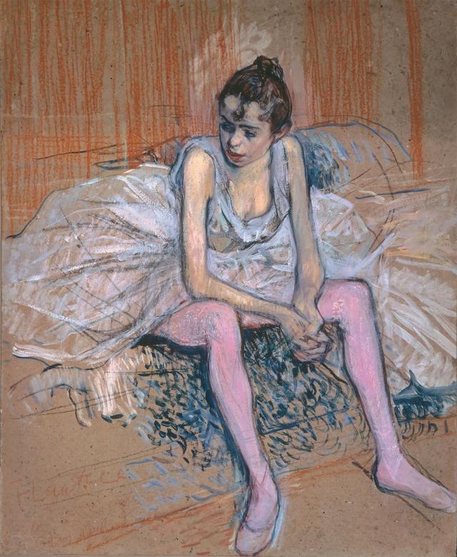 Анри де Тулуз-Лотрек. Сидящая танцовщица в розовом трико