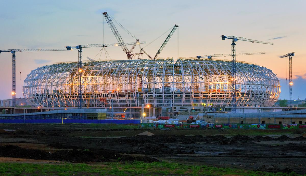 Строящийся в Саранске футбольный стадион «Мордовия Арена»