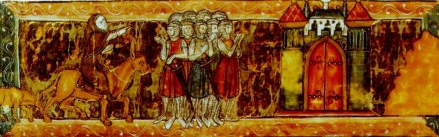 Пётр Пустынник указывает крестоносцам путь в Иерусалим. Французская миниатюра. 1270