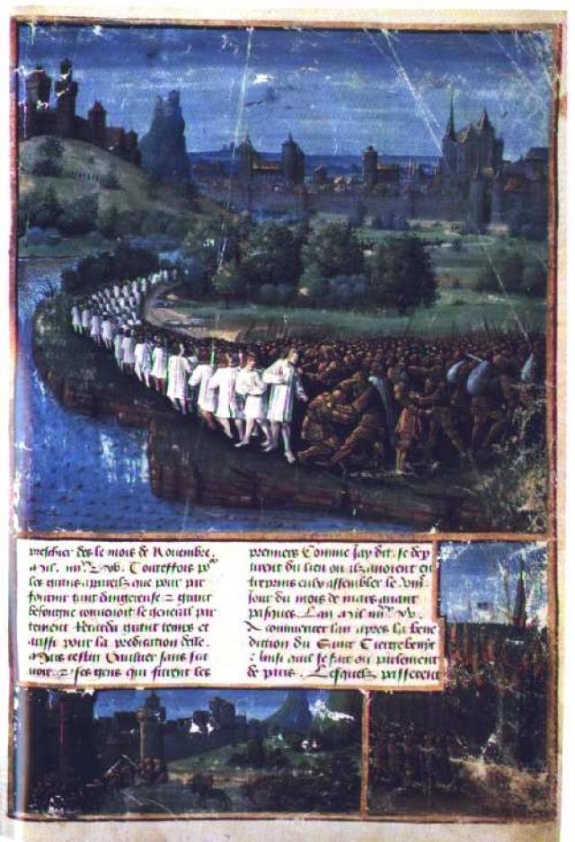 Средневековая освященная рукопись, показывающая народный крестовый поход Петра Отшельника. 1096