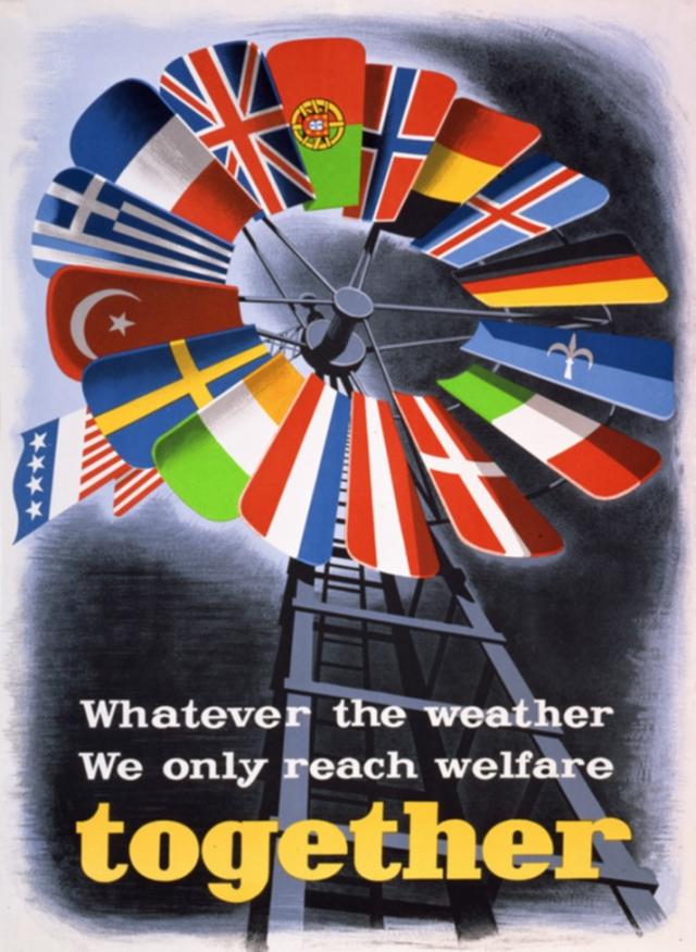 Плакат, посвящённый плану Маршалла (Какова бы ни была погода, только вместе мы достигнем благосостояния)