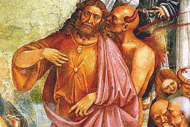 Лука Синьорелли. Антихрист и дьявол (фрагмент фрески). 1501