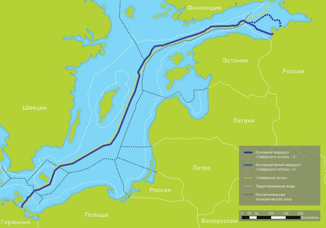 Варианты трассы газопровода «Северный поток-2»