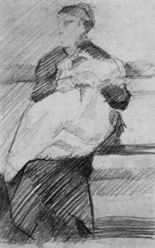 Жорж-Пьер Сёра. Женщина с ребенком . 1881