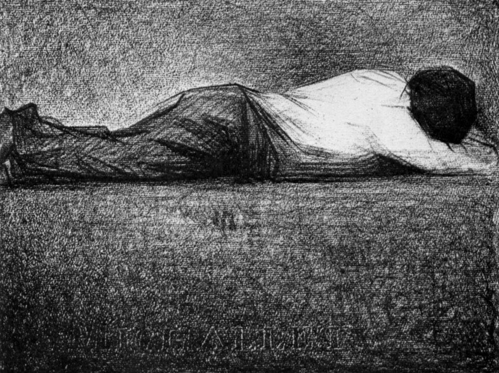 Жорж-Пьер Сёра. Лежащий мужчина. 1881