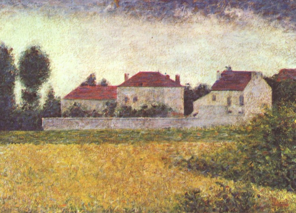 Жорж-Пьер Сёра. Виль д`Авре, белые дома. 1882