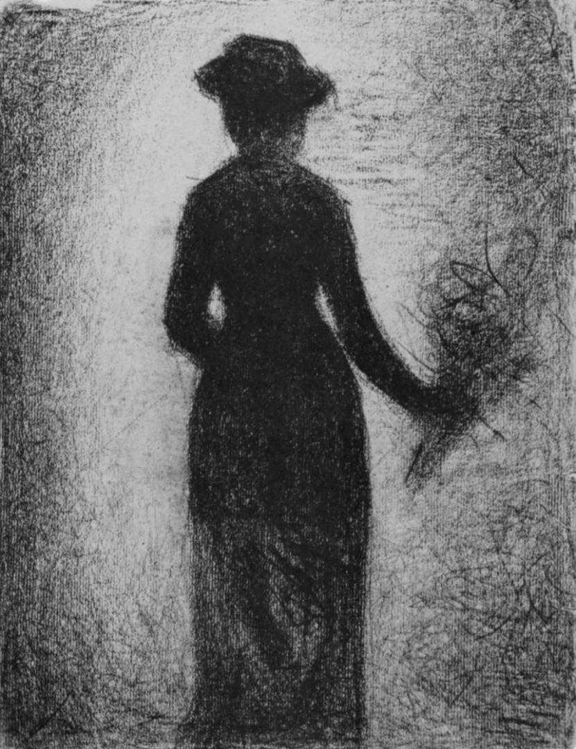 Жорж-Пьер Сёра. Дама с букетом цветов, вид со спины. 1882