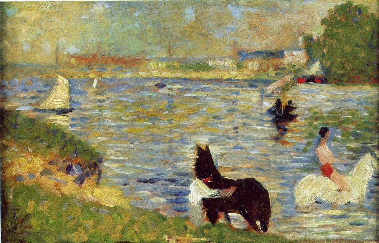 Жорж-Пьер Сёра. Лошади в реке. 1883