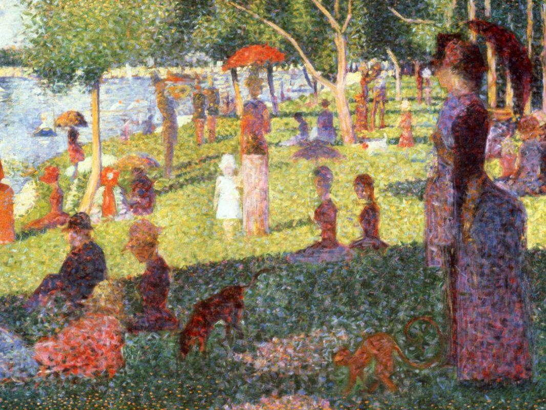 Жорж-Пьер Сёра. В воскресенье днем на острове Лан Гранд Джетт. 1884