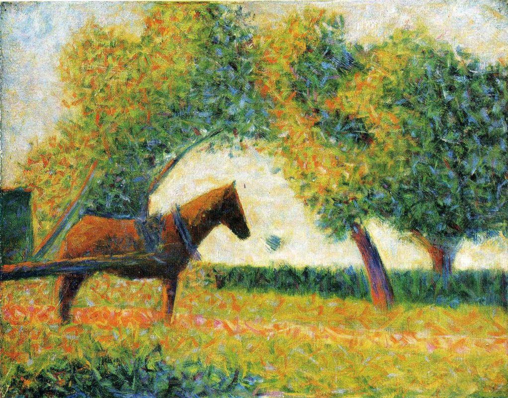 Жорж-Пьер Сёра. Лошадь и телега. 1884