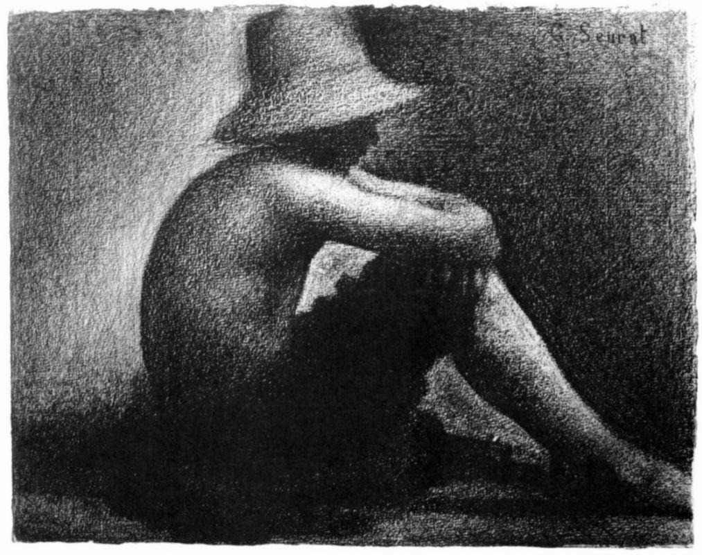 Жорж-Пьер Сёра. Сидящий мальчик в соломенной шляпе. 1884