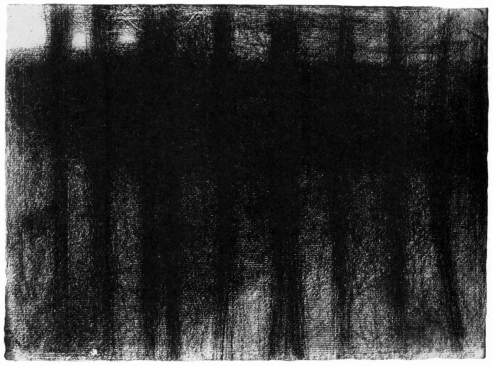 Жорж-Пьер Сёра. Стволы деревьев, отраженные в воде. 1884