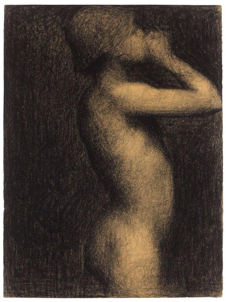 Жорж-Пьер Сёра. Эскиз для картины Купальщицы на Аньер. 1884