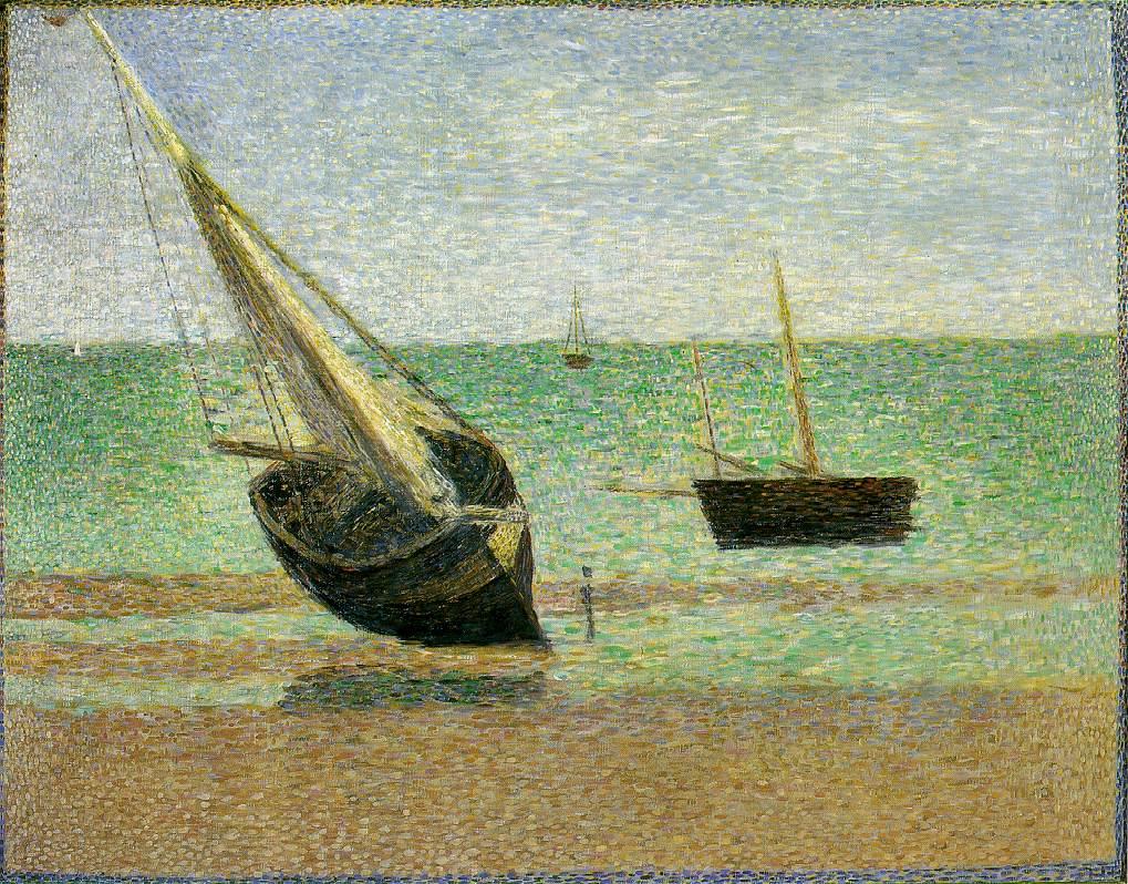 Жорж-Пьер Сёра. Лодки, отлив, в Грандкемп. 1885